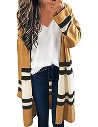 cardigan mujer largo de punto invierno Sannysis mujeres Jersey de punto casual manga larga color a rayas Outwear (Caqui)