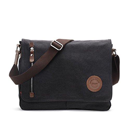 Messenger Bag Mens Women Canvas Laptop Messenger Bag Shoulder Bags for Mens ipad Laptop Office Work Travel (Black-13.3 Inch)