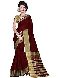 Indian Fashionista Women's Banarasi Cotton Saree with Unstiched Blouse Piece(MHVR145-1740-1, Brown, Free Size)