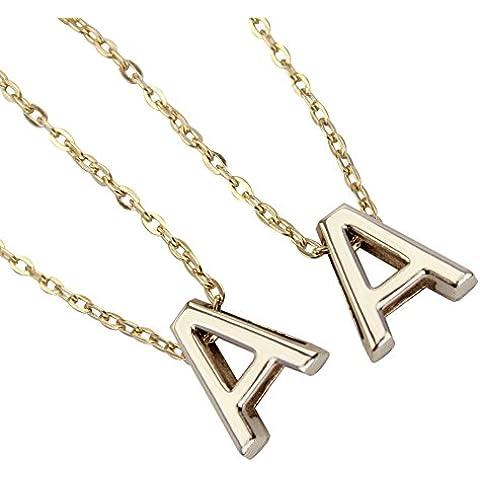 2X Dorado Collar Cadena Letra A Nombre Inicial Colgante Bisutería para Mujer
