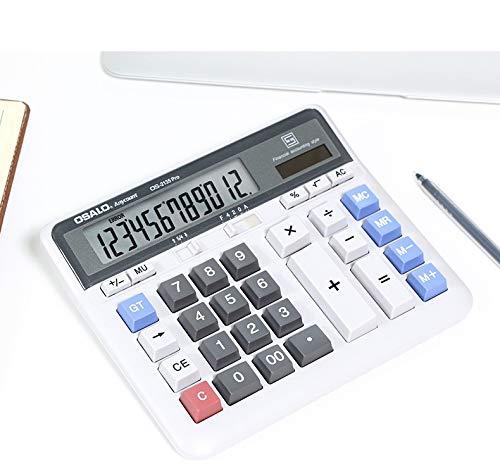 Tischrechner Desktop Dual-Power Solar und Batterie Tischrechner 12-stelliger ABS Plastik mit großem Display Rechenmaschine große tasten Solarrechner Standard Calculator office business Schreibtisch 12 Display-taste