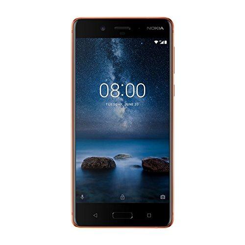 Nokia 8 13,4 cm (5,3 Zoll) Smartphone (64 GB ROM, 4 GB RAM, 13 MP Kamera, Single SIM, spritzgeschützt (IP54), Android Nougat) kupfer
