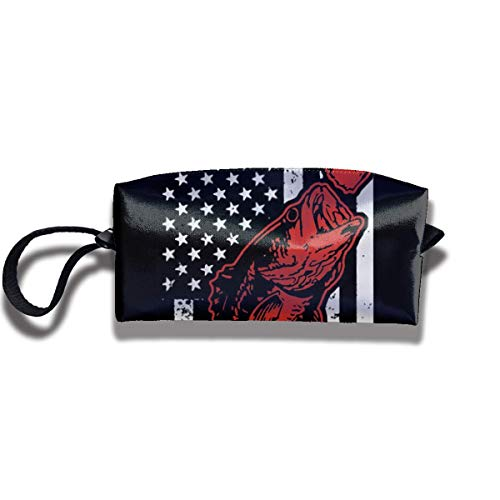 Bass Fishing Lure and American Flag Print Elegant Cosmetic Pouch Bag Interesting Makeup Junkie Bags Travel Storage Package Pouch with Zipper Plastic Inner Bucket