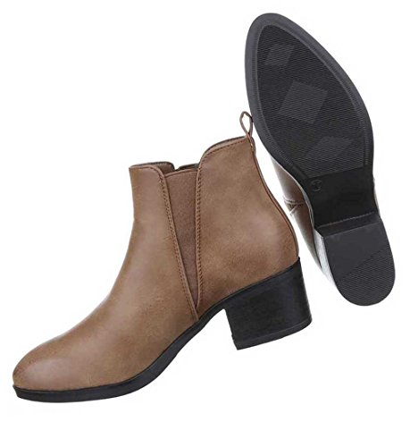 Damen Stiefeletten Schuhe Stretch Boots Schwarz Braun