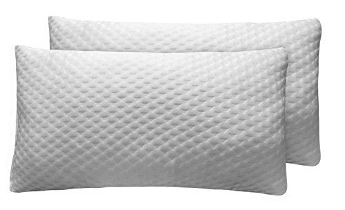 Sunlay - Pack de 2 almohadas viscoelásticas de copos, con doble funda de diseño texturado, 35 x 90 cm