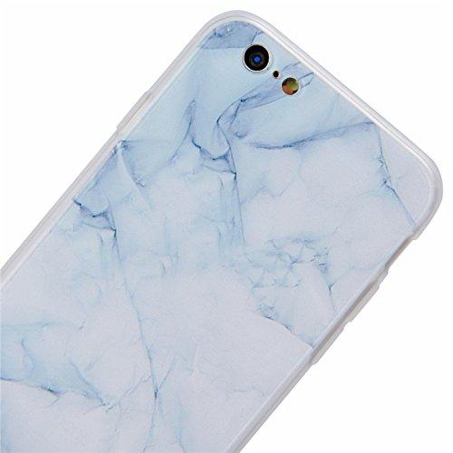 Yokata Cover per Apple iPhone 6S / 6 Custodia Rosa Fenicotteri gel Silicone TPU Gomma Morbido Ultra Sottile Trasparente Bordo Backcover Copertura Protezione Shell + Penna Marmo Grano Luce Bianco
