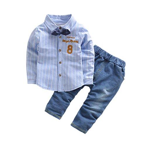 TUDUZ 2 Stücke Kleinkind Baby Jungen Shirts Blusen + Jeanshosen Kleidung Set (Blau, 0-6 Monate) (Mädchen Schneeanzug Größe Xl)