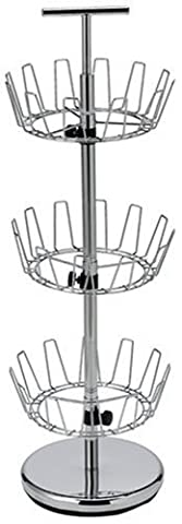 Household Essentials Three-Tier Revolving Shoe Tree Holds 18 Pairs, Chrome Finish by Household Essentials