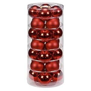 Inge-glas 1202D003 Barattolo 28 palle decorative per albero di Natale, 60 mm, colore: Rosso lucido/opaco