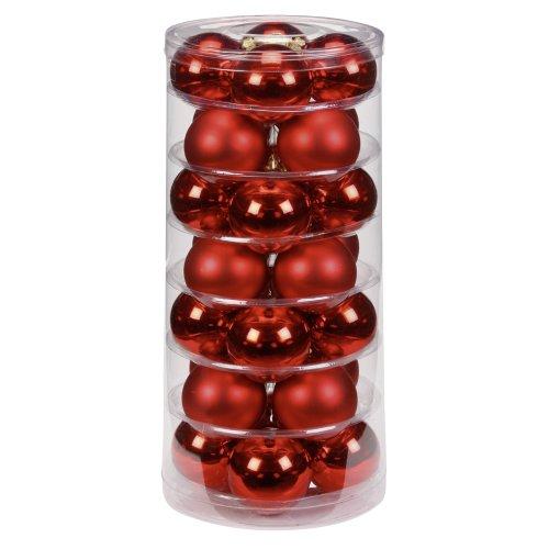 Inge-glas 12002D003 Kugel 60 mm, 28 Stück/Dose, rot glanz/matt