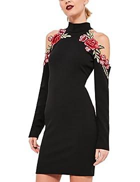 Simplee Apparel le maniche lunghe fiori ricamati collare freddezza bodycon regolare mini vestito corto nero