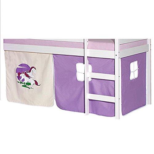 Prix IDIMEX Lot de Rideaux cabane pour lit surélevé superposé mi-Hauteur Mezzanine Tissu Coton Motif Licorne Violet