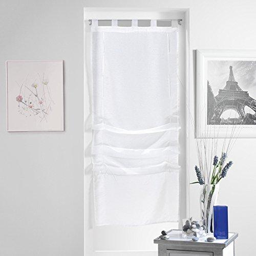 Douceur d'Intérieur Lissea Store Forme Droite Voile Sable Polyester Blanc 180 x 45 cm