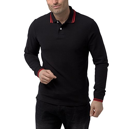 Charles Wilson Langärmliges Kontrastkragen Polohemd (XX-Large, Schwarz)