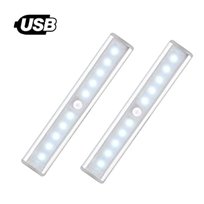 [NEW] Motion Sensor Light for Wardrobe - Jebsens T05 2 Pack USB Rechargeable 10 LED Battery Operated Lights for Cabinets, Stair, Hallway, Cabinet with ON/OFF/AUTO Mode (Cool White) produced by JEBSENS - quick delivery from UK.