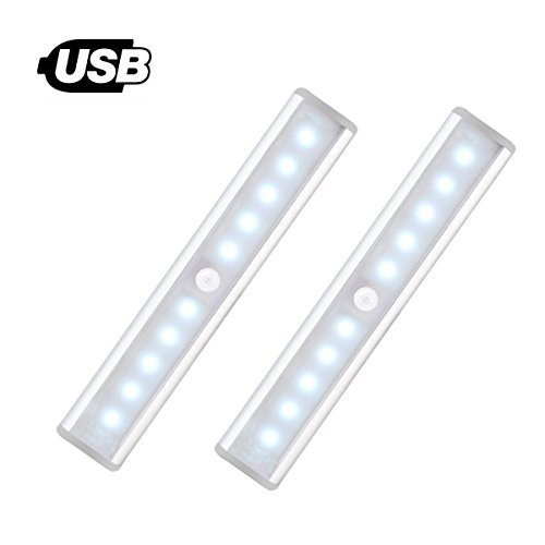 [NEW] Motion Sensor Light for Wardrobe - Jebsens T05 2 Pack USB Rechargeable 10 LED Battery Operated Lights for Cabinets, Stair, Hallway, Cabinet with ON/OFF/AUTO Mode (Cool White)
