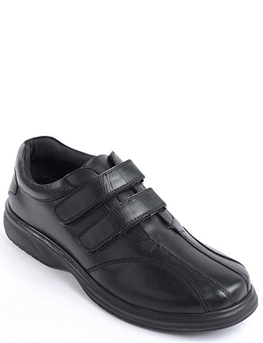 Mens Leather Twin Touch Fasten Wide Fit Shoe