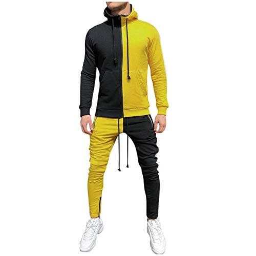 BHYDRY Herren Herbst Patchwork Reißverschluss Sweatshirt Top Hosen Sets Sportanzug Trainingsanzug(XXX-Large,Gelb) -