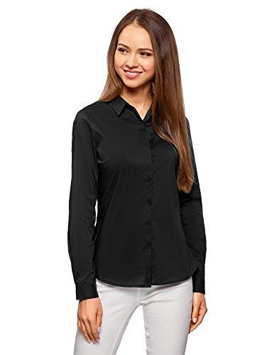 oodji Ultra Mujer Camisa Entallada Básica, Negro, ES 34 / XXS
