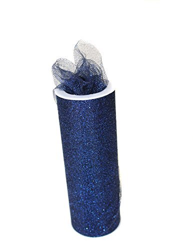 Navy 6''x 10 Yards Glitter Tulle Bolt Fabric by Stylishfabric - Tessuto Di Tulle Bolt