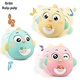 Lanero Roly-Poly Stehaufmännchen, Spielzeug für Babys und Neugeborene, Beißring-Spielzeug mit Glocke, Wackelpuppe, originelles Lernspielzeug (Grün)