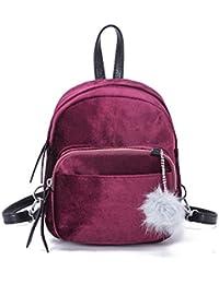79d7dc2cbd Homebaby Borsa a tracolla in velluto di moda mini zaino palla moda solido  donne ragazze scuola