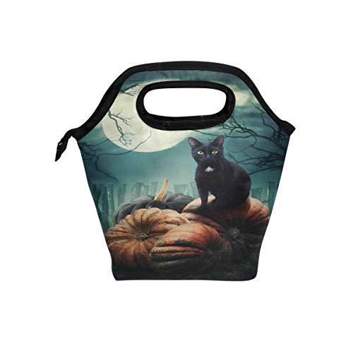 Isolierte Lunchtasche für Jungen und Mädchen, Halloween, schwarze Katze, Kürbisform, Herbstmond, Lebensmittel, Kühltasche, warme Tasche für Schule, Arbeit, Büro, Studenten, Kinder