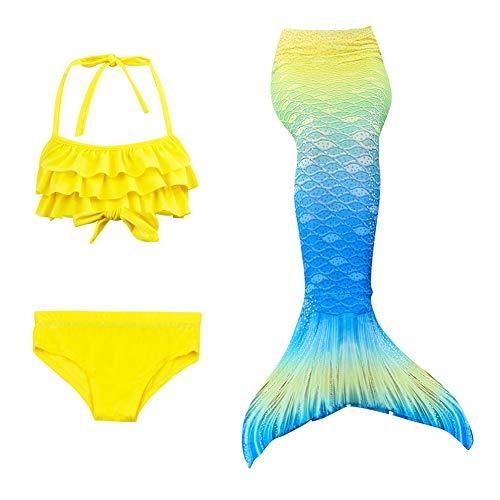 g mädchen Meerjungfrau Kinder Badeanzug Beste Mädchen Bikini Badeanzüge Schönere Meerjungfrauenschwanz zum Schwimmen mit Flosse Kostüm Schwanzflosse - EIN Mädchentraum,E,130 ()