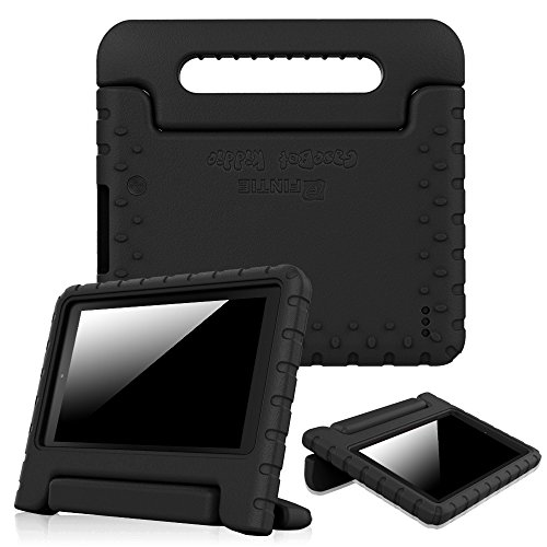 Fintie Hülle kompatibel für Fire 7 Tablet (7. Generation - 2017) / Fire 7 (2015) - Superleicht stoßfeste kinderfreundliche Ständer Schutzhülle mit Drehbar Handgriff, Schwarz