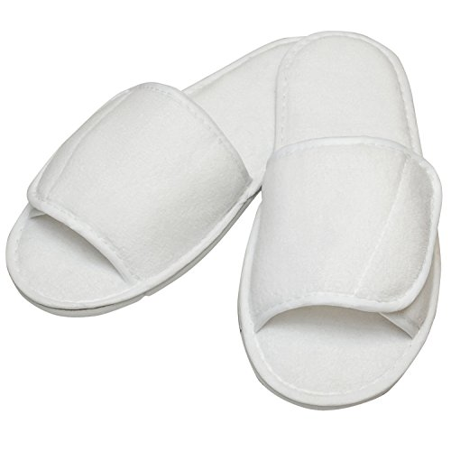 Towel City Open Toe Slippers With Hook And Loop Strap White