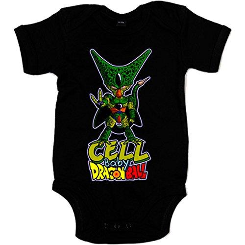 Body bebé Dragon Ball baby Cell Célula - Negro, 6-12 meses