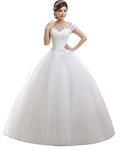 Eyekepper Hochzeitskleid, mit Ärmeln, bodenlang, maßgeschneidert Gr. 40, weiß