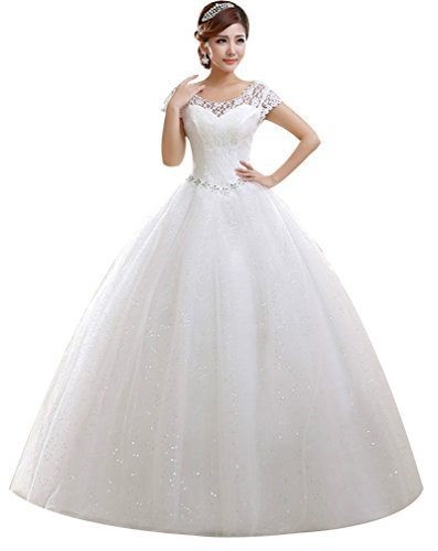 Eyekepper Double Shoulder Floor Length Bridal Gown Wedding Dress Custom Size 16