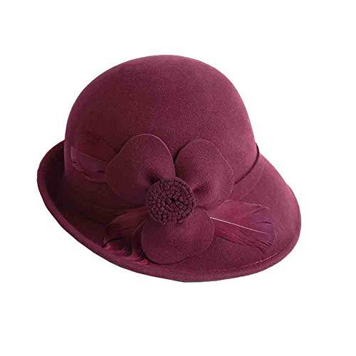 Sunny Bowler Hüte Cloche Bucket Hats Für Frauen, Bowler Kirche Hut Herbst Und Winter Feder Blumen Dekoration (Farbe : Weinrot) Cloche Bucket