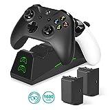 innoAura Chargeur pour Contrôleur Xbox One, Station d'accueil/De Charge Double Fente avec 2 Batteries Rechargeables 1600mah pour Xbox One (S) / X/Controller Elite
