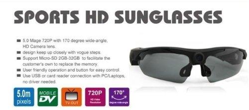 Telecamera Sportiva HD in Occhiali da Sole Sport Action Cam 170 Gradi DVR 1280X720