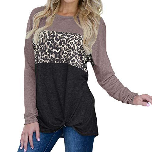Bluestercool Magliette Donna Manica Lunga Elegante Pullover Leopardato Blusa Elegante