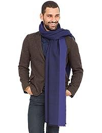 Grande écharpe tissée à la main avec liseré texturé bleu de 100x 200cm