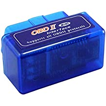 Cena Mini Bluetooth lector de código de coche compatible con Android/Droid/Torque Soporte OBD2ELM327OBD II alimentación 2–Azul