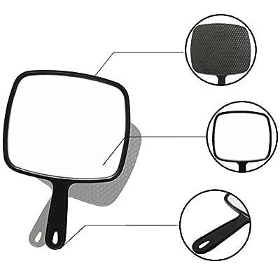 Kentop Professioneller Friseursalon Großer Handspiegel Wand-Hängenden Spiegel Schwarze mit Griff