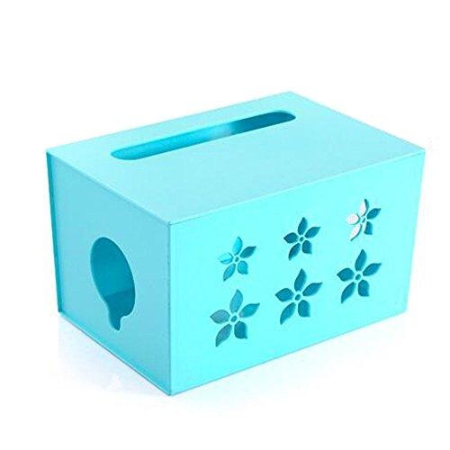 Everyfit Wifi Router Aufbewahrungsbox, Kunststoff Draht Box Power Cord Sockel Aufbewahrungsbox Kabel Management Draht Kordel Tidy Box Blau