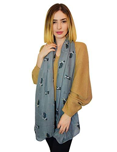 Galleria fotografica SEW ELEGANT NUOVO Sciarpa da donna con stampa border collie pietra grigia