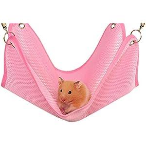 Drawihi Netter Hamster Hängematte Frettchen atmungsaktiv Hängematte Mesh Tuch Hängematte Heimtierbedarf (Rosa)