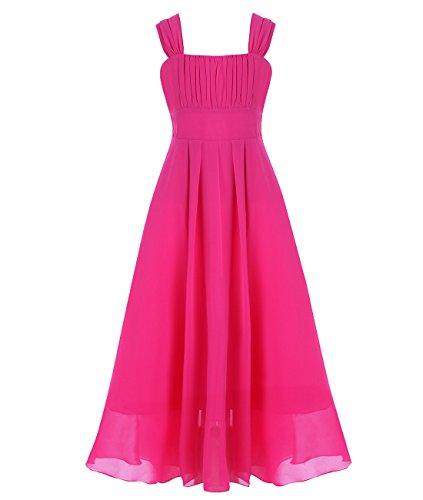 er Kleider Festlich Lang Brautjungfern Kleid Prinzessin Hochzeit Party Kleid Chiffon Festzug Gr size_name 152 (Herstellergröße: 12 Jahre)  color_name  Rose ()