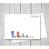 Personalised wellington boot family note cards with envelopes