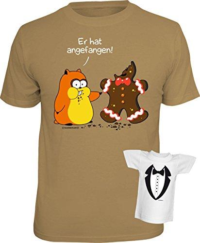 Fun T-Shirt Hamster vs. Lebkuchen Shirt bedruckt Geschenk Set mit Mini Flaschenshirt Sand