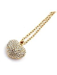 Goldenes mit Silbernen Strass Steinen bestztes Herz an einer langen Kette