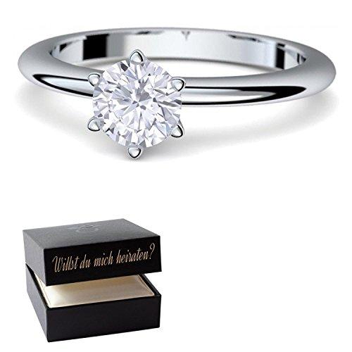 Verlobungsringe von AMOONIC mit SWAROVSKI Zirkonia Stein +*LUXUSETUI & GRAVUR!* Heiratsantrag Geschenkidee Antrag Hochzeit Silberring Ring Silber 925 Zirkonia wie Diamant Damenring AM195SS925ZIFA54-2
