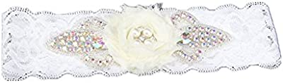 TRLYC para novia, diseño de liga de Rhinestone Crystal Liga con encaje
