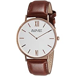 August Steiner Men's Classic Dress Watch with Silver Dial and Brown Leather Strap AS8166RGBR
